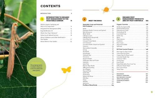 The Vegetable Garden Pest Handbook table of contents.