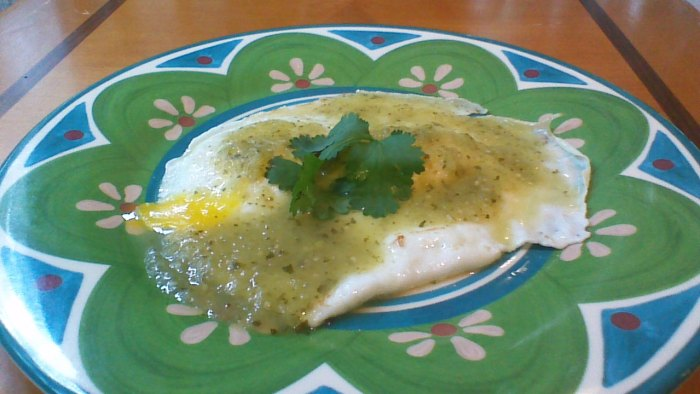 Eggs with Chili Verde Sauce