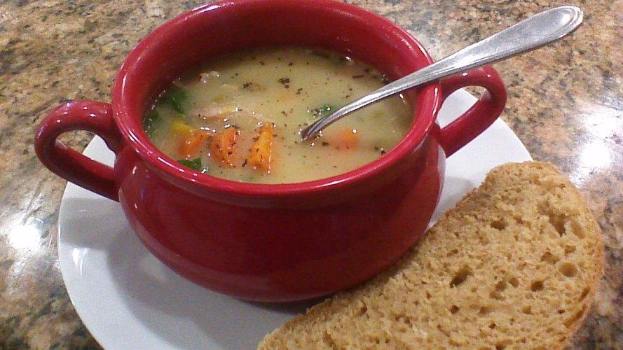 creamy turkey soup bowl