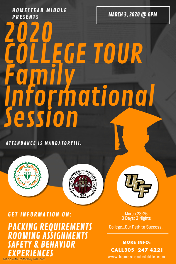 2020 College Tour Family Information Session Flyer