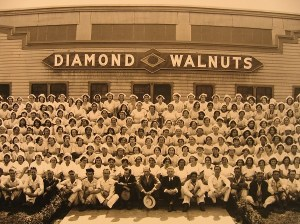 Employees outside of the Blue Diamond Walnuts packing house in Puente, CA, in the 1920s.