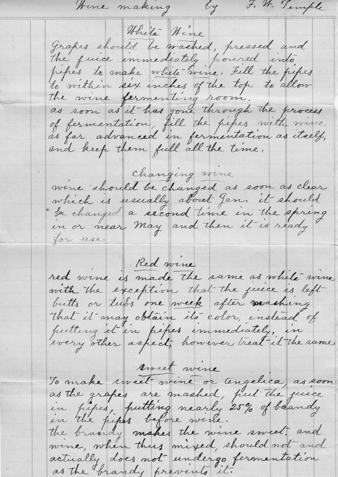 A page from a ca. 1880s manuscript on wine making by Francis W. Temple.