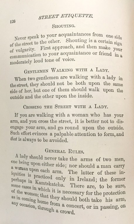 """Various tips on """"street etiquette."""" """"Decorum,"""" 1882. From the Homestead Museum collection."""