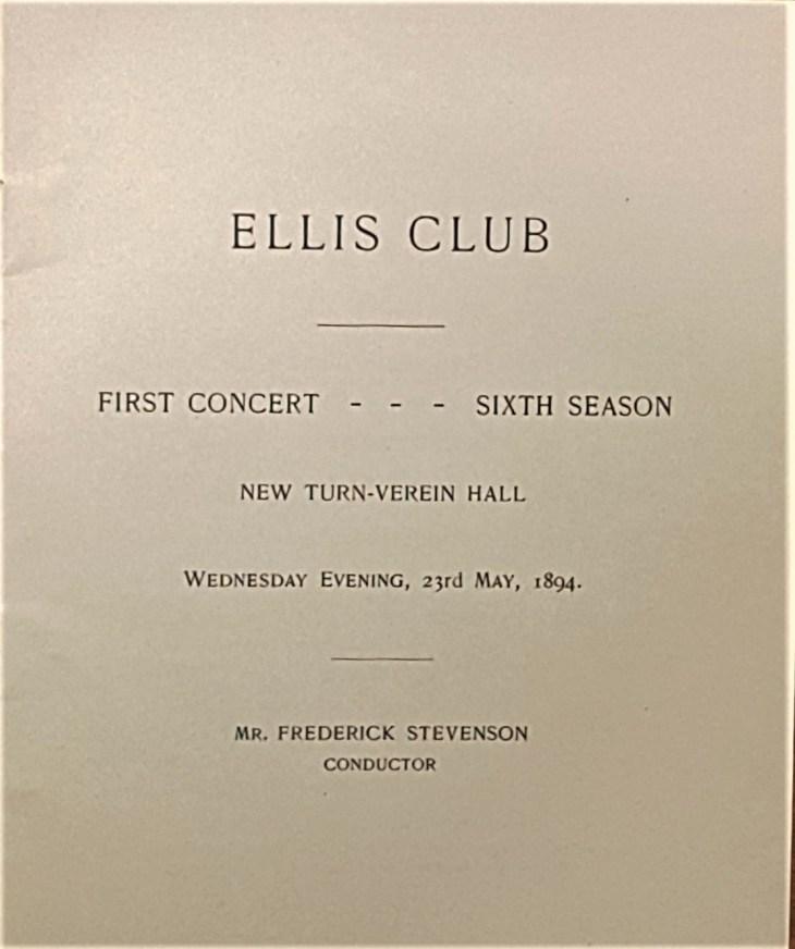 Ellis Club title page