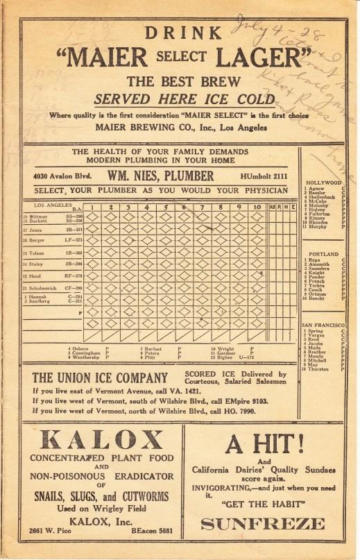 LA Angels scorecard 4 Jul 1928