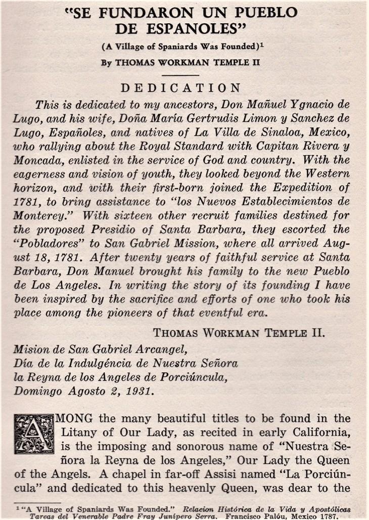 Temple article LA founding HSSC Quarterly 1931