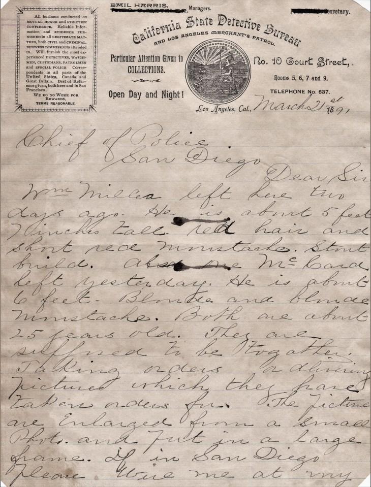 Emil Harris detective letter 21Mar91