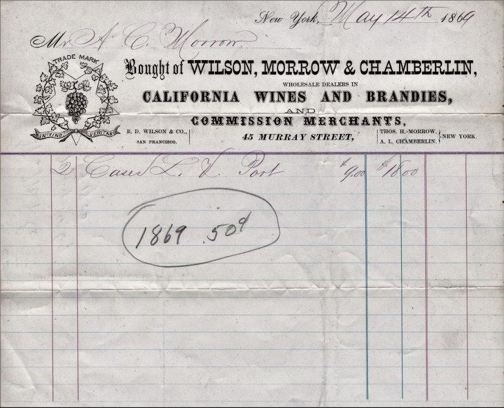 Wilson Morrow Chamberlain receipt 14May69