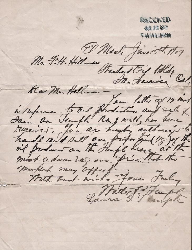Temples to Hillman letter 15June17