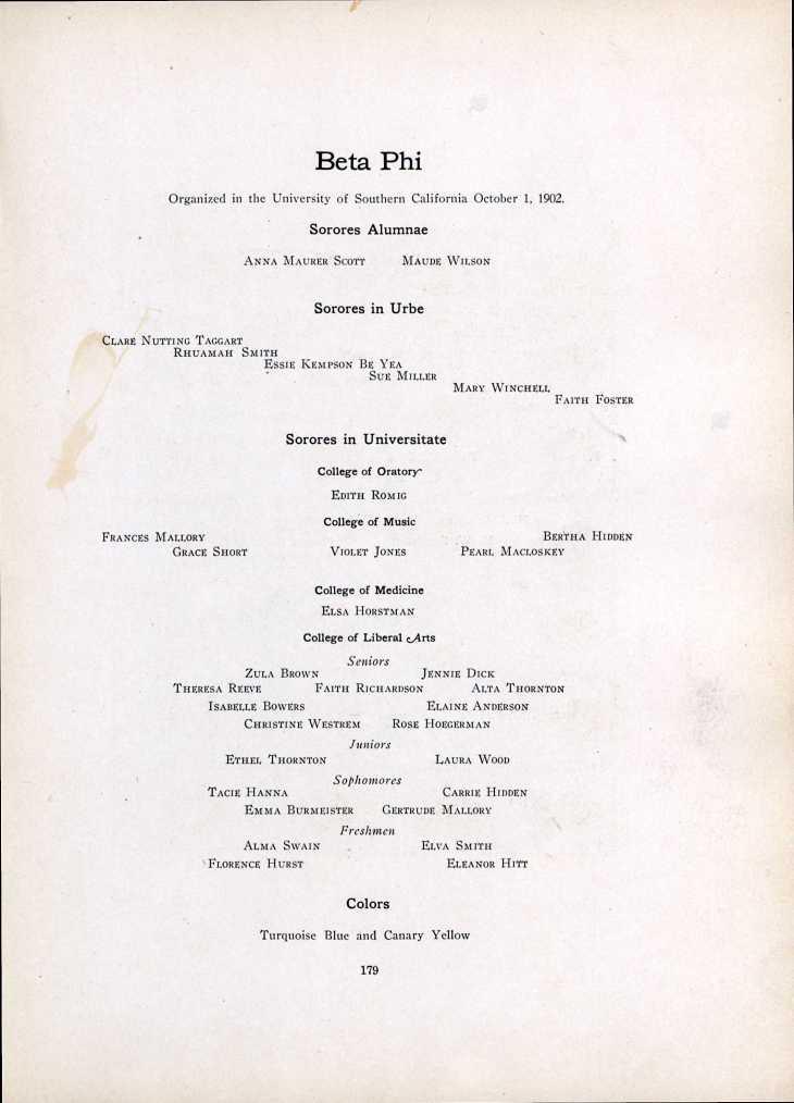 Essie Kempson 1909 USC page