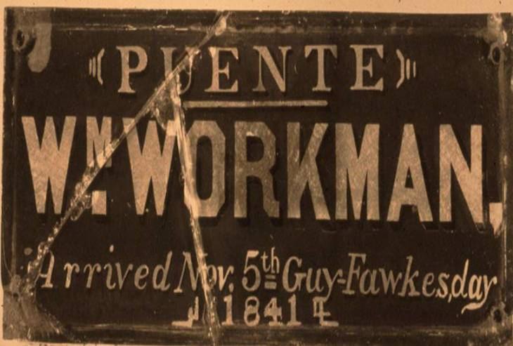 Workman Arrival Plaque