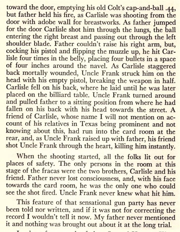 FM King account Carlisle affair 1935