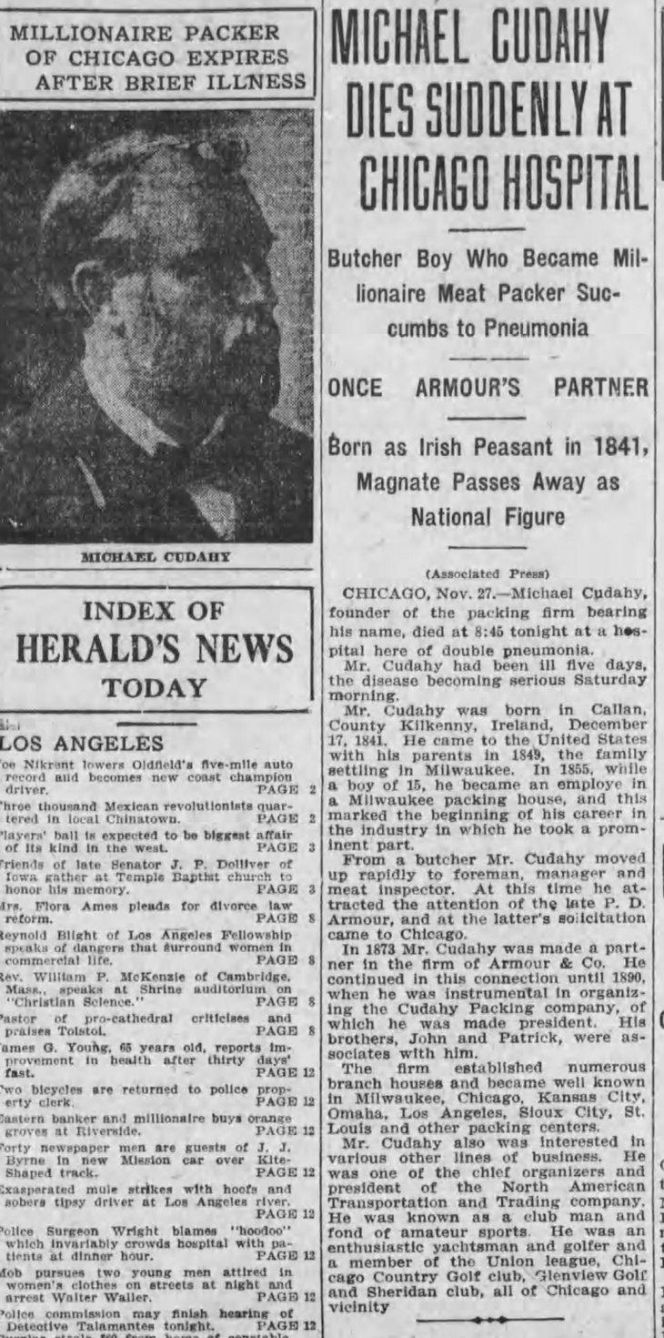 Michael Cudahy obit LA_Herald_Nov_28__1910_