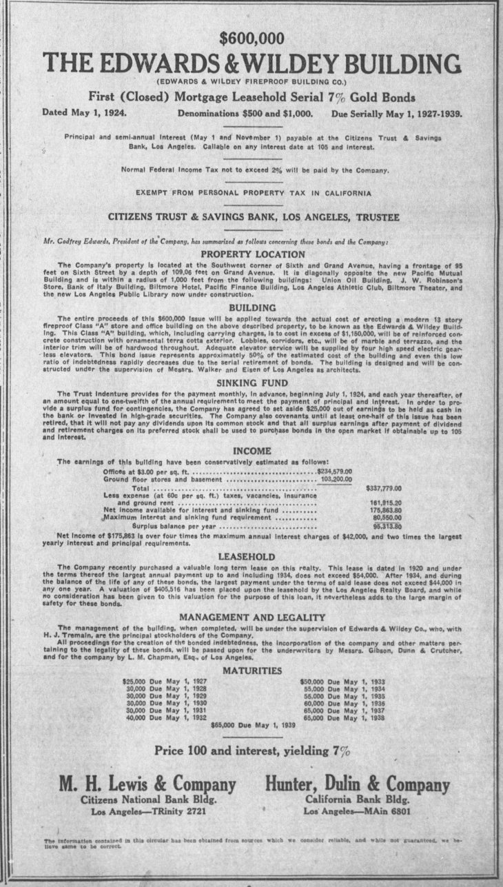 E&W Bldg bond ad LA_Times_Aug_6__1924_