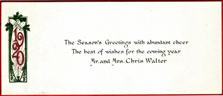 Walter Xmas card to Temples 1920
