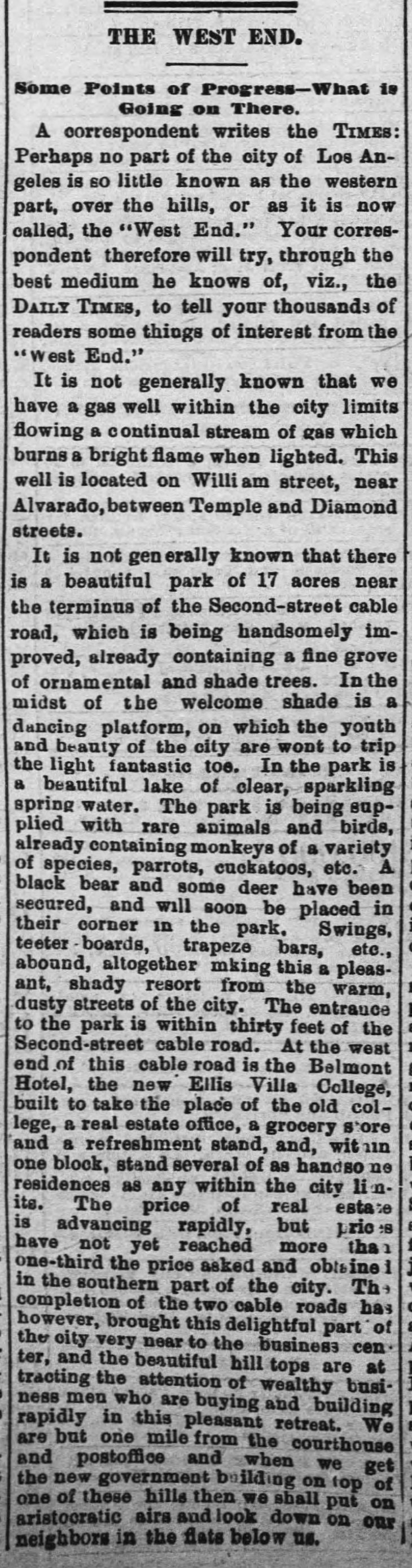 West End article Times Aug_12__1886_