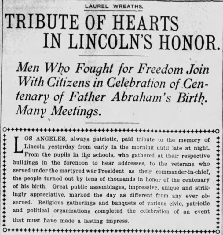 Lincoln tributes headline Times_Feb_13__1909_