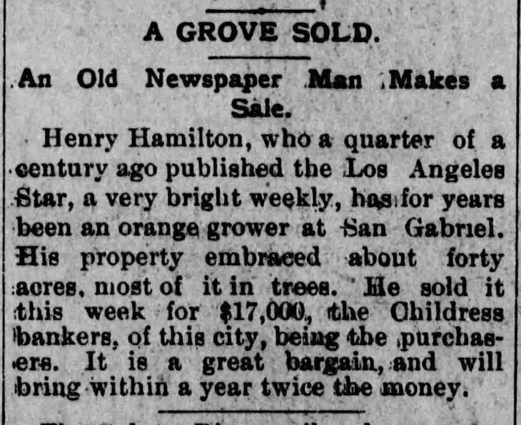 Sells Orange Grove Los_Angeles_Herald_Sat__Feb_7__1891_