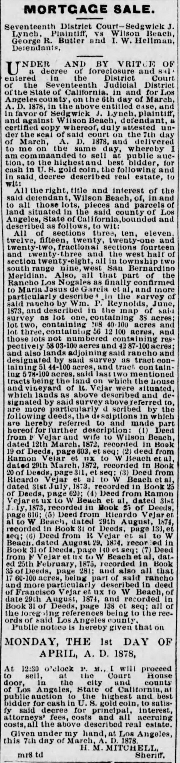 Mortgage sale Los Nogales Los_Angeles_Herald_Fri__Mar_8__1878_