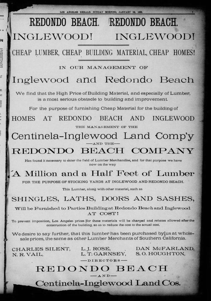 Redondo Inglewood ad Los_Angeles_Herald_Sun__Jan_22__1888_