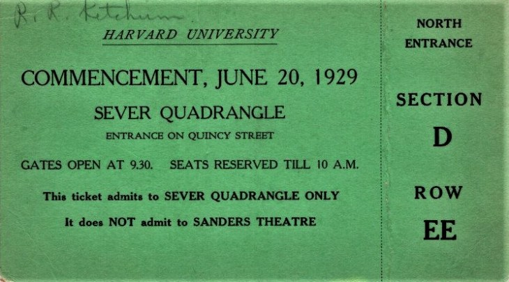 Harvard commencement ticket 20Jun29