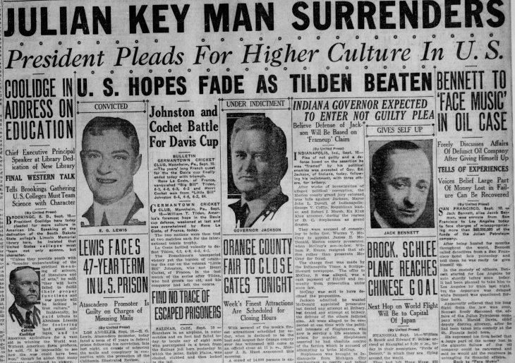 Jack Bennett surrenders Santa_Ana_Register_Sat__Sep_10__1927_