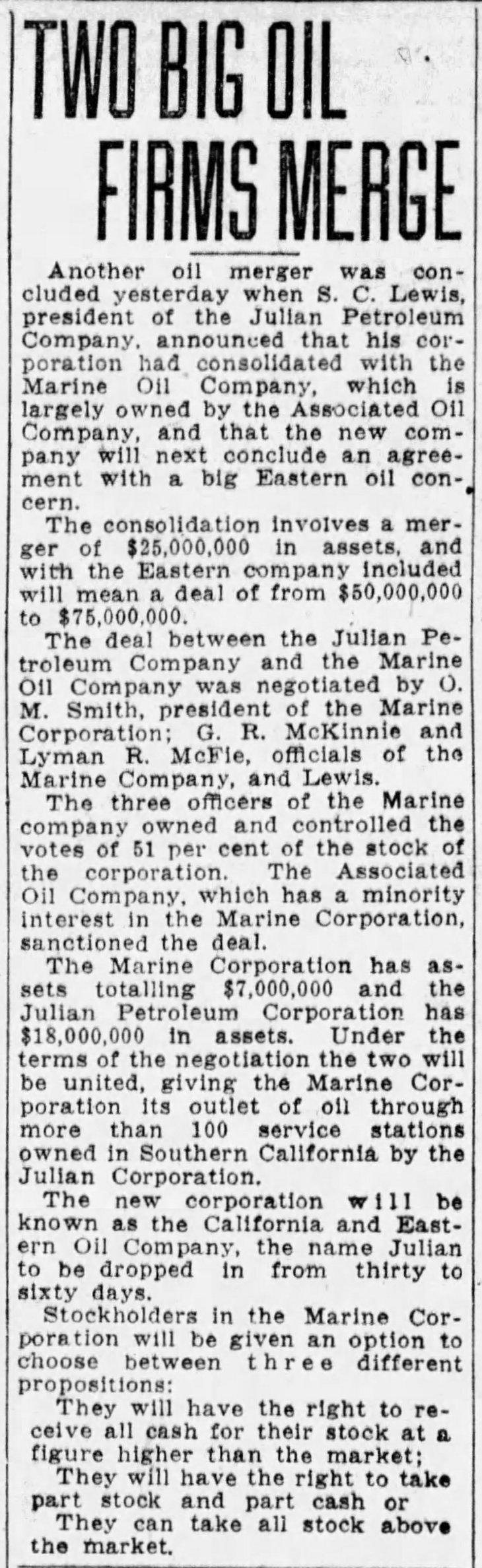 Julian Pete Marine merger The_San_Francisco_Examiner_Wed__Jun_30__1926_
