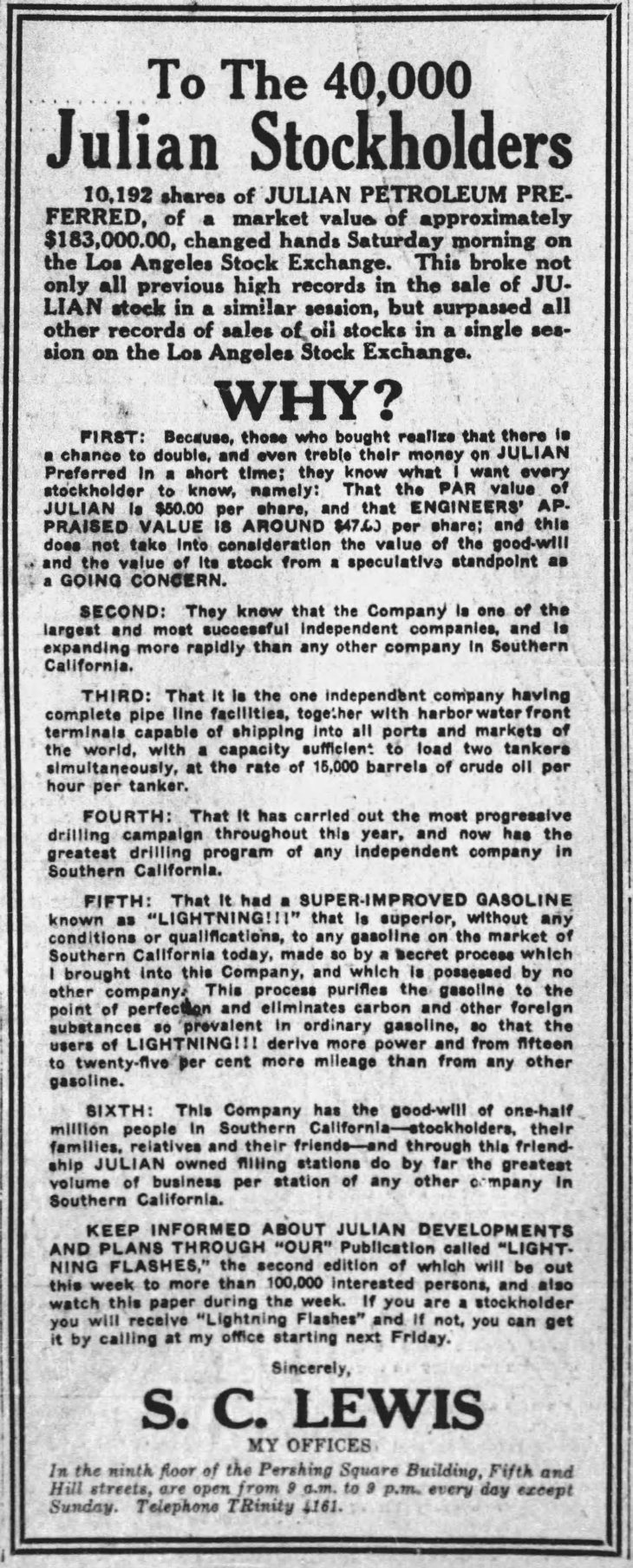 Lewis ad to Julian stockholders The_Los_Angeles_Times_Sun__Nov_22__1925_ (1)
