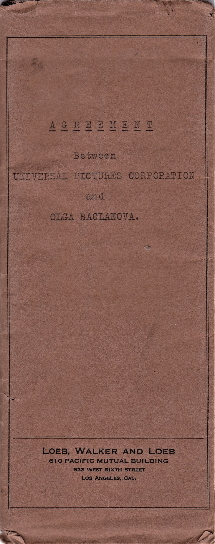 Universal Baclanova contract cover