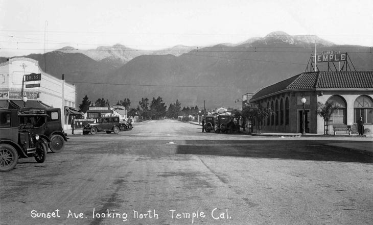 RPPC Sunset Ave Looking North Temple Cal 2013.904.1.1
