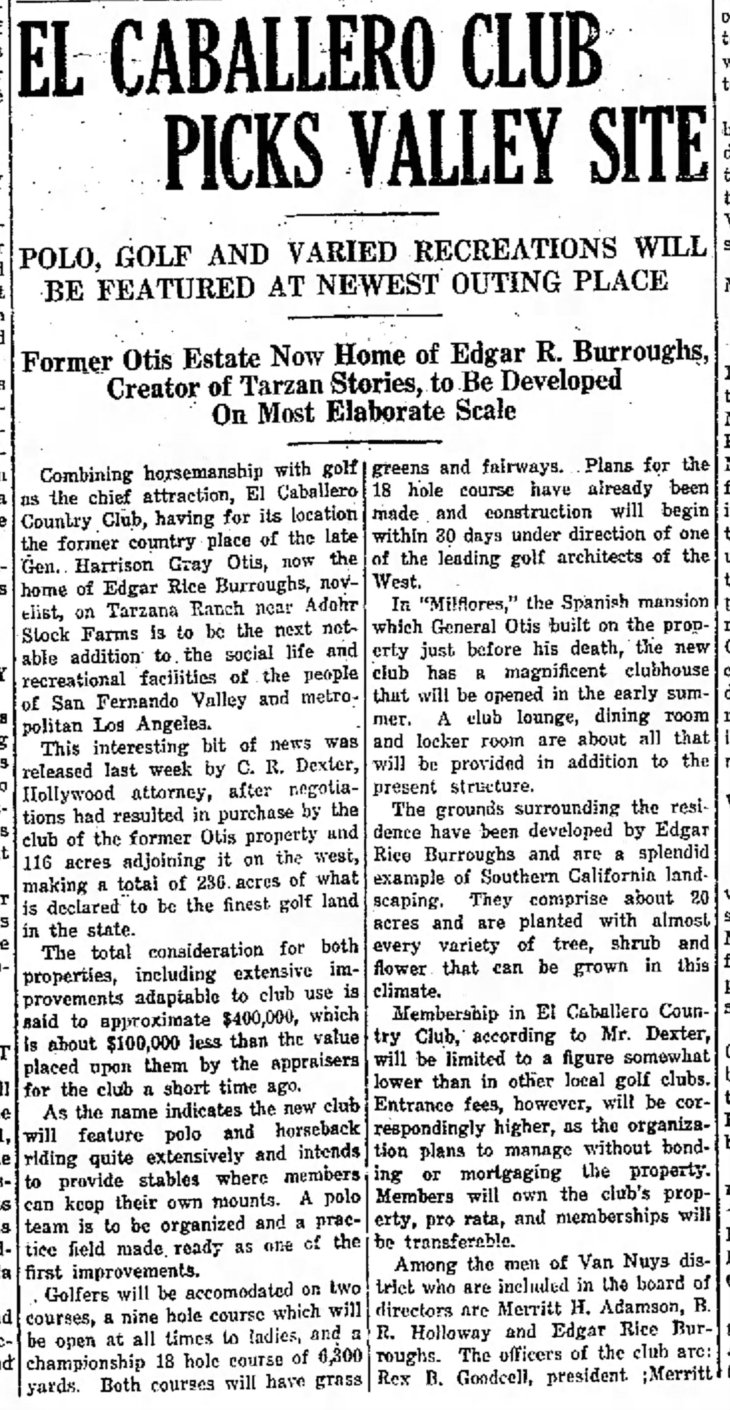 El Caballero Club on Tarzana Ranch House site The_Van_Nuys_News_Tue__Mar_18__1924_