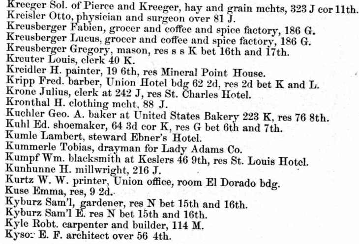 Kysor 1861 Sacramento directory