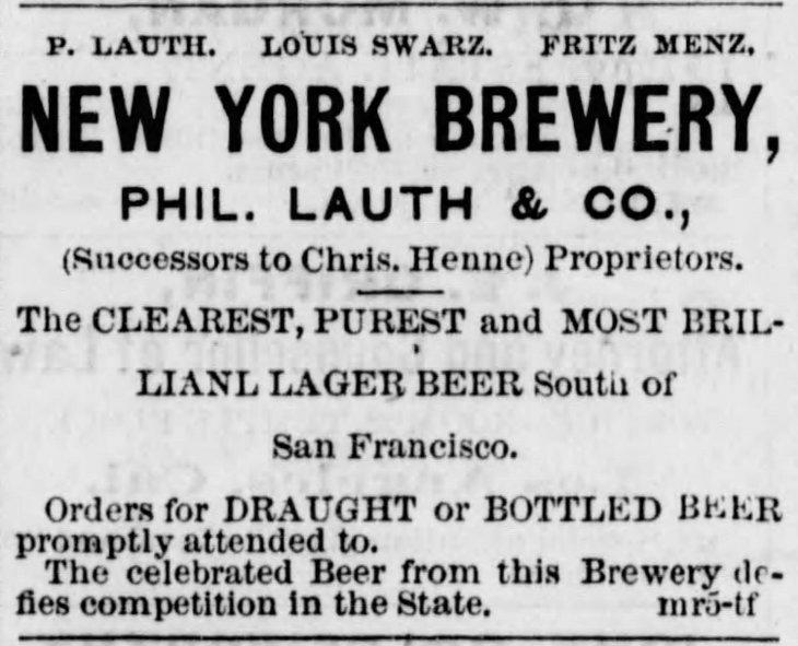 NY Brewery ad Los_Angeles_Herald_Thu__Mar_5__1874_