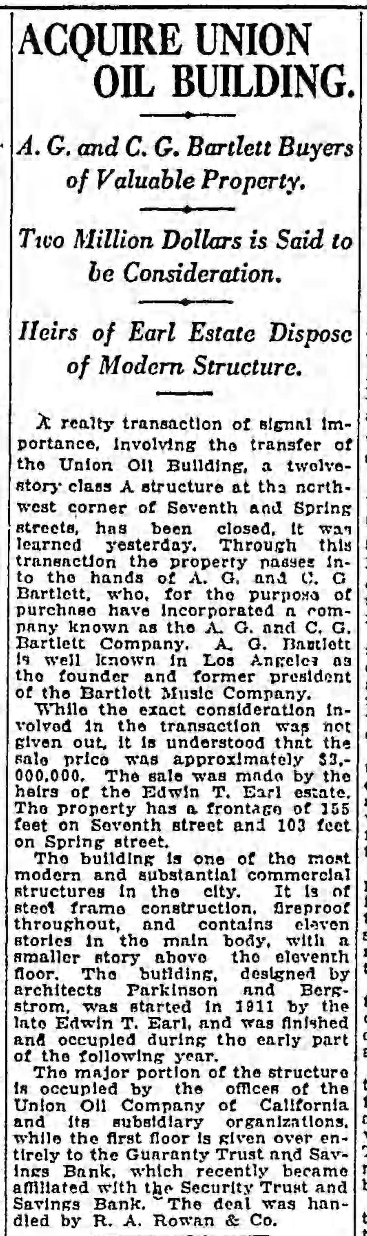 Bartlett buys Union Oil Building The_Los_Angeles_Times_Wed__Oct_5__1921_