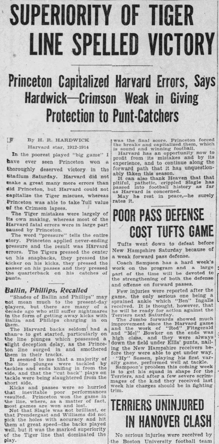 Harvard Princeton football game The_Boston_Globe_Mon__Nov_8__1926_