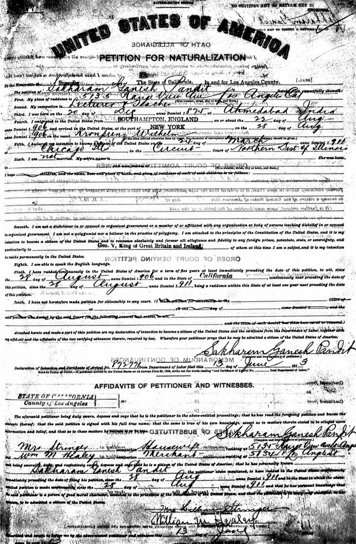 Petition of Naturalization LA 1913