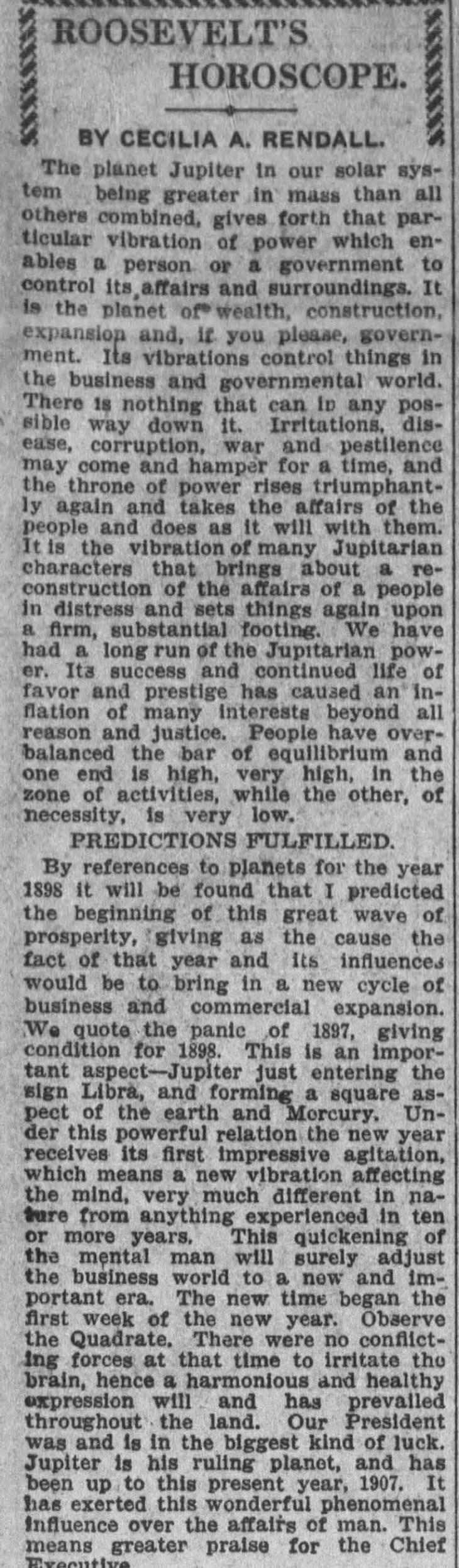 Celia Rendall Roosevelt Horoscope The_Los_Angeles_Times_Sun__Sep_1__1907_