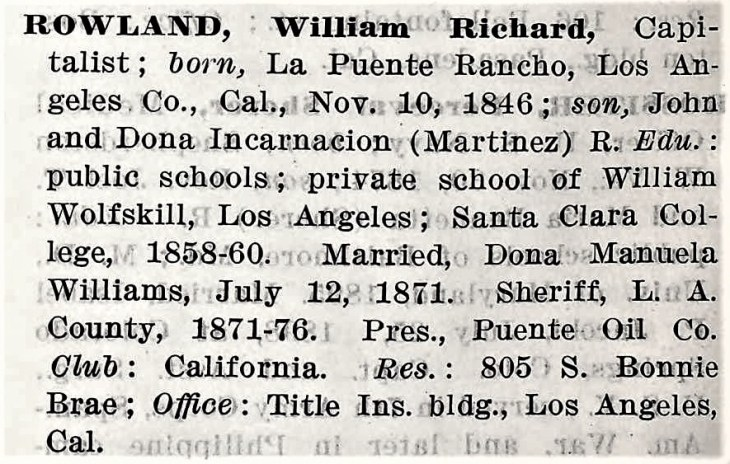 Who's Who in California 1913 Rowland