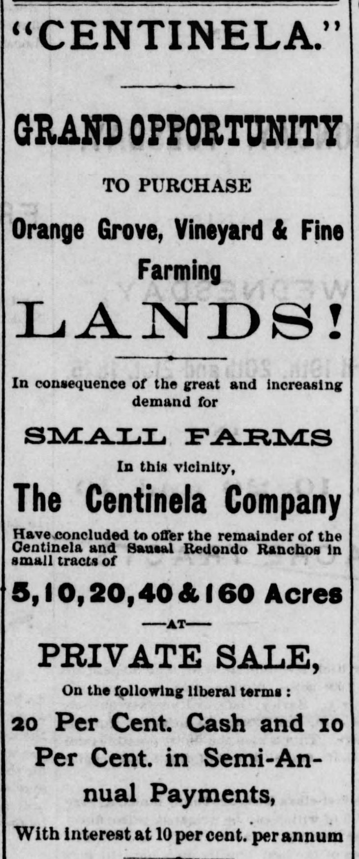 Centinela Grand Opportunity ad Los_Angeles_Herald_Sat__Apr_3__1875_