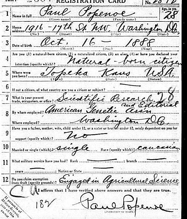 Popenoe WWI registration