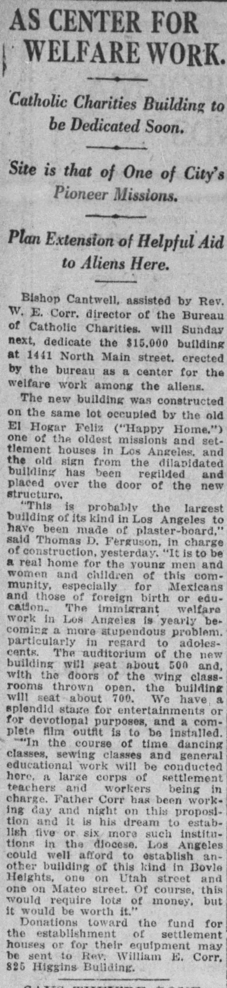 Santa Rita replaces Hogar Feliz The_Los_Angeles_Times_Tue__Feb_17__1920_