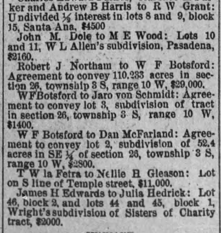 Botsford land purchase and sale early mention The_Los_Angeles_Times_Sat__Jun_30__1888_