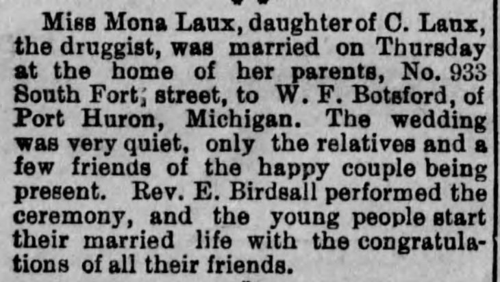 Botsford Laux marriage Los_Angeles_Herald_Sun__Dec_29__1889_