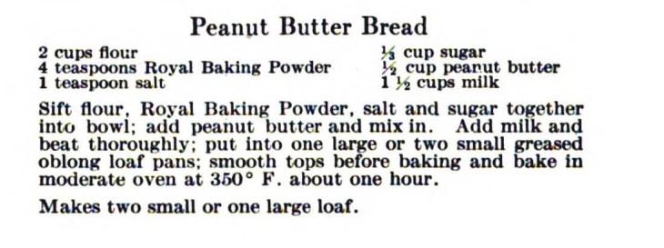 Peanut butter bread crop recipe only