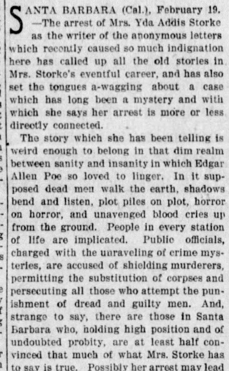 Murder Ghosts and Yda Addis Mystery detail 1 The_San_Francisco_Examiner_Mon__Feb_20__1899_