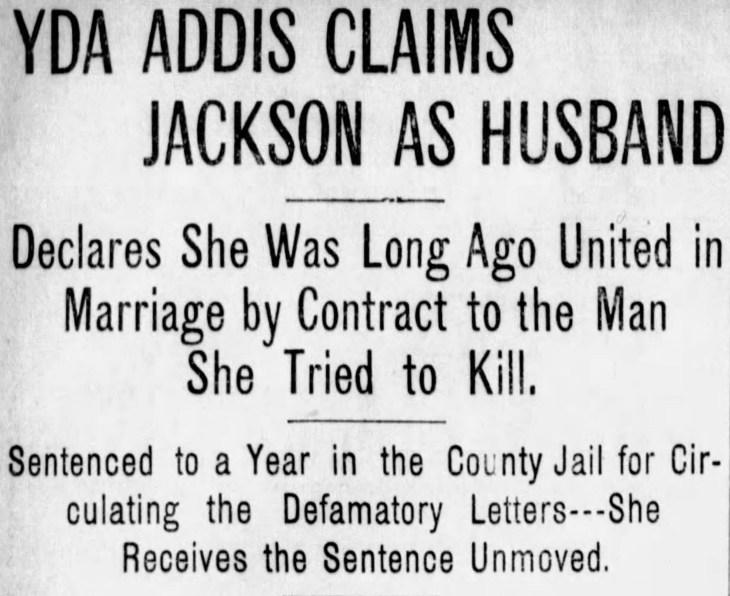 Yda Cliams Jackson as huband headline actual The_San_Francisco_Examiner_Tue__Jul_11__1899_
