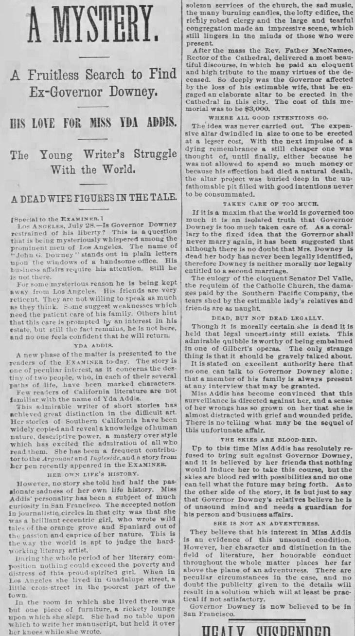 Yda Downey A Mystery detail The_San_Francisco_Examiner_Fri__Jul_29__1887_