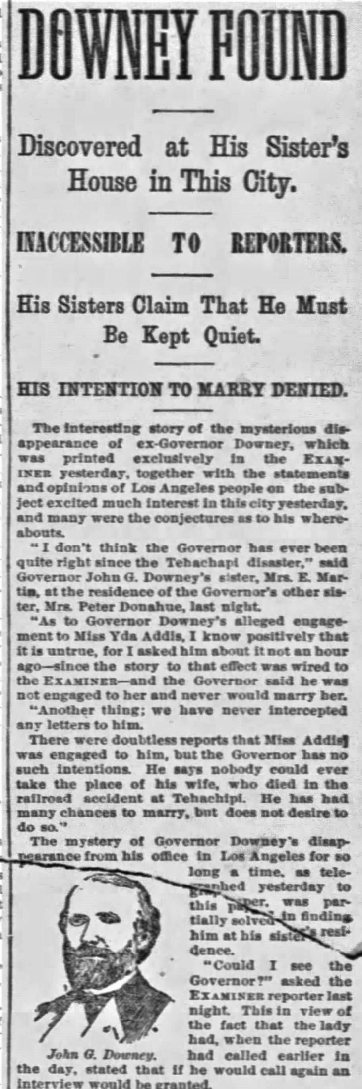 Yda Downey found detail The_San_Francisco_Examiner_Sat__Jul_30__1887_