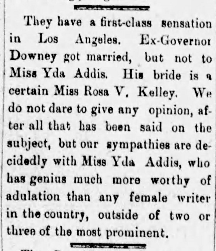 Yda Downey marries Rosa Kelly Daily_Independent_Tue__May_8__1888_