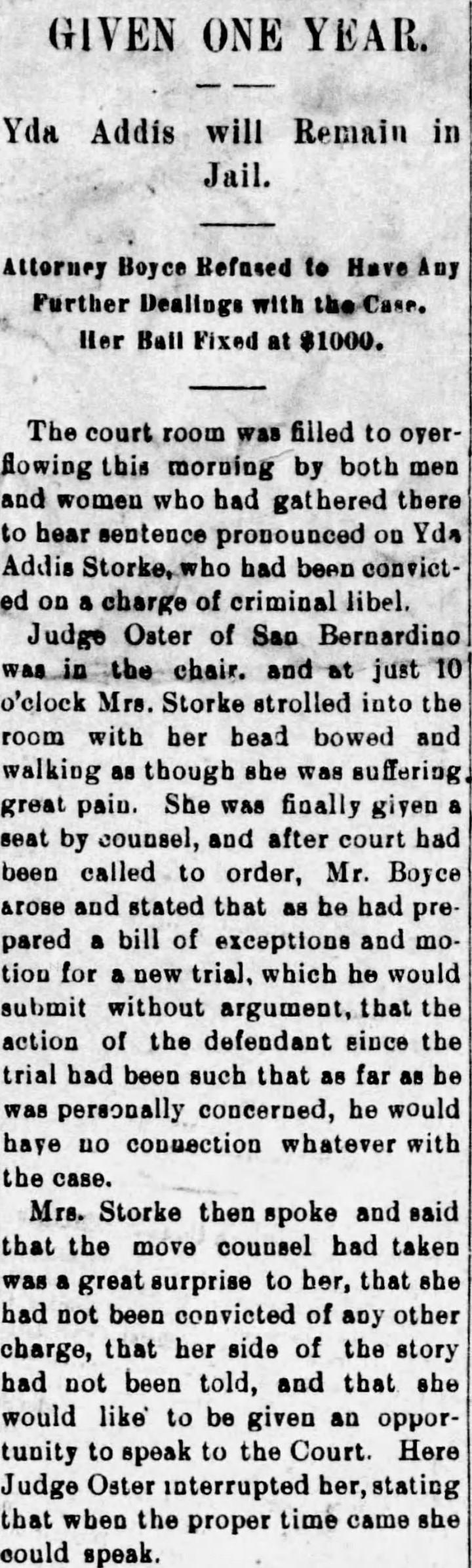 Yda sentence headline Daily_Independent_Mon__Jul_10__1899_